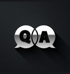 Silver speech bubbles with question and answer vector