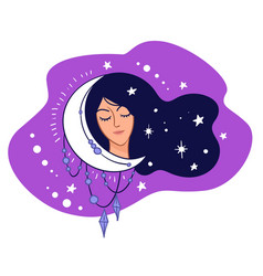 sleepy woman with crescent moon and shining stars vector image