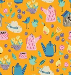 Spring Garden seamless pattern vector image