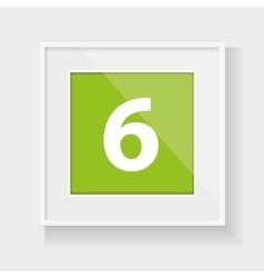 Square frame with number six vector