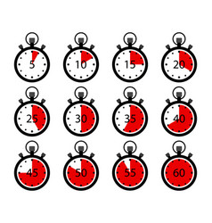 Stopwatch icons clock timer with stop set vector