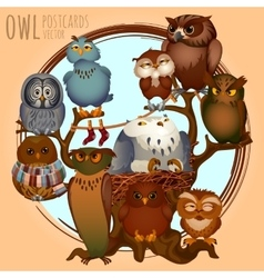 Ten different owls on a branch cartoon series vector