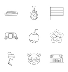 Tourism in thailand icons set outline style vector