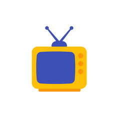 Tv with antenna old television icon flat design vector