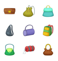 types of bags icons set cartoon style vector image
