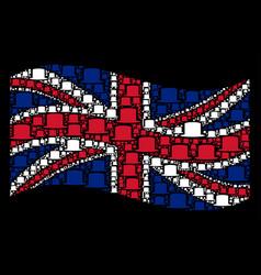 waving british flag mosaic of gentleman hat items vector image
