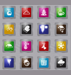 Winter glass icons set vector