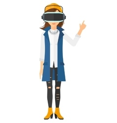 Woman wearing virtual reality headset vector