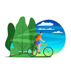 Young man riding bicycle 02 vector