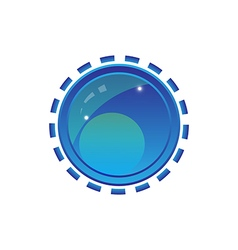 Blue shiny button with elements design vector image
