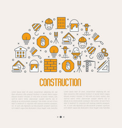 building construction concept with thin line icons vector image