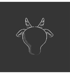 Cow head Drawn in chalk icon vector image