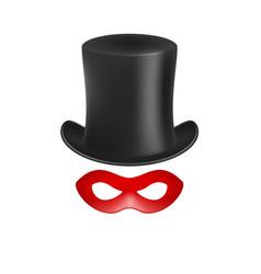 gentleman hat and eye mask in red design vector image vector image