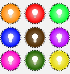 Light lamp Idea icon sign A set of nine different vector image