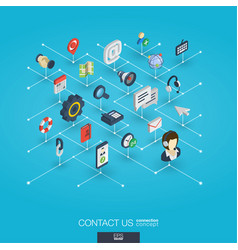 support integrated 3d web icons digital network vector image vector image