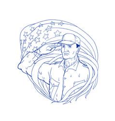 american soldier salute flag ukiyo-e vector image vector image