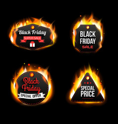 Black Friday Sale fire badges and labels vector image vector image