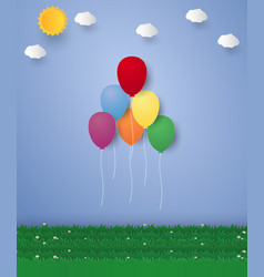 festive balloons flying in the sky paper art vector image vector image
