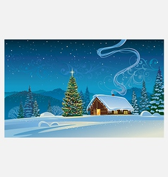 Forest house with the Christmas tree vector image vector image