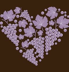 Grapes with leaves in the form of heart vector