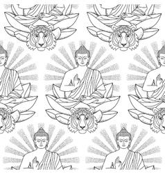 Seamless Pattern of Buddha Lotus light and Tiger vector image vector image