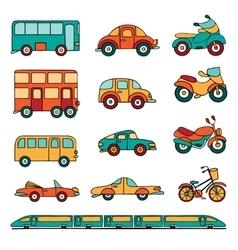 set of cartoon land transport vector image