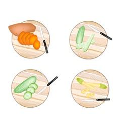 Sweet Potatoes Cucumber Baby Corns vector image