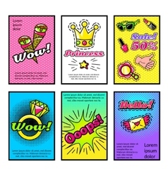 For Girls Comic Style Posters Set vector image