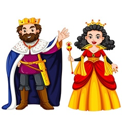 King and queen with happy face vector image vector image