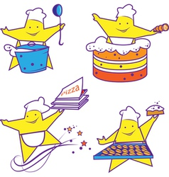 Party abstract cheerful chefs vector image vector image