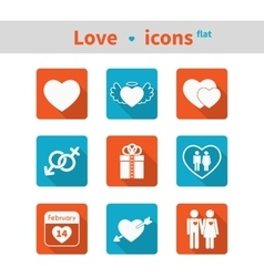 Set of icons on the theme of love and Valentines vector image