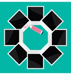 Instant photo circle and pencil in flat design vector image
