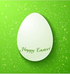 Paper card easter eggs on green background vector image