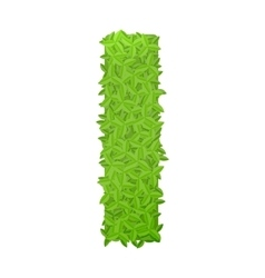 Uppecase letter I consisting of green leaves vector image vector image