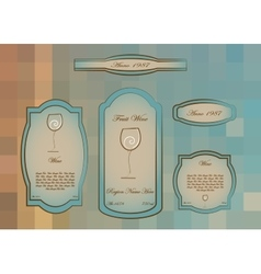 Wine labels collection white wine Glass logo vector image