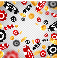 3d dollar gold coinsholdem poker chips explosion vector image