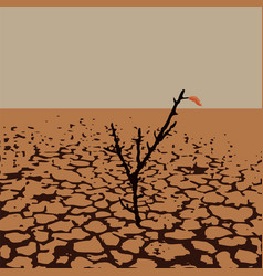 A lonely tree in dry desert land vector