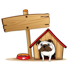 A signboard beside a doghouse with a dog vector