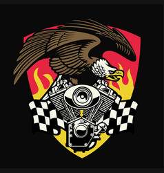 bald eagle hold motorcycle engine vector image