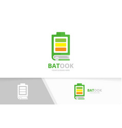 battery and book logo combination energy vector image