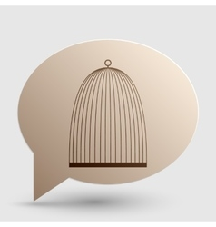 Bird cage sign Brown gradient icon on bubble with vector image