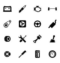 black car parts icon set vector image