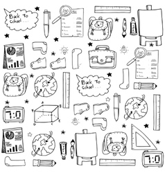 Black white school education doodles vector