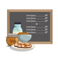 Breakfast menu syrup pancake milk cereal vector