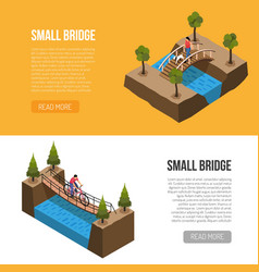 Bridges isometric banners vector