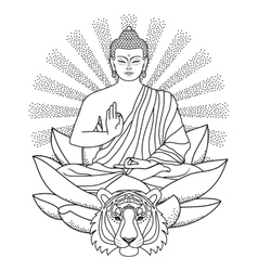 Buddha sitting on Lotus with light and Tiger vector