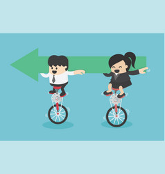 businessmen and businesswomen riding a bicycle vector image