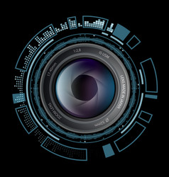 Camera photo lens with hud interface vector