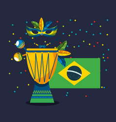 Canival rio brazilian celebration with flag vector