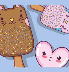 cats and ice cream vector image